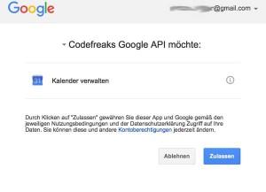 API Authentifizierung von Google